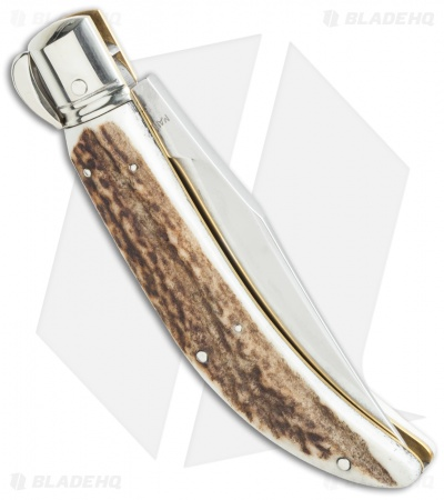"Lepre 9"" Sicilian Picklock Automatic Knife Stag Horn (3.7"" Satin)"