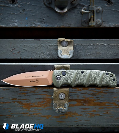 "Boker Desert Warrior Kalashnikov Dagger Automatic Knife OD Green (3.25"" Copper)"