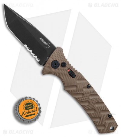 "Boker Plus Strike Tanto Automatic Coyote Brown (3.25"" Black SW Serr) 01BO425N"