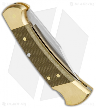 "Buck 112 Exclusive Automatic Knife  Green Micarta/Brass (3"" Satin)"