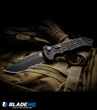 "Gerber Auto 06 Automatic Knife S30V Drop Point (3.7"" Black Serr) 0377"