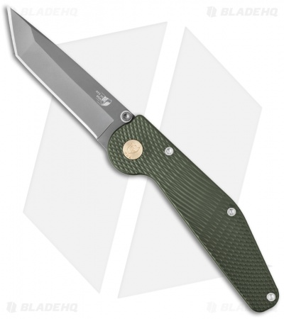 "GT Knives Police Tanto Automatic Knife Green (3.5"" Gray) GT311"