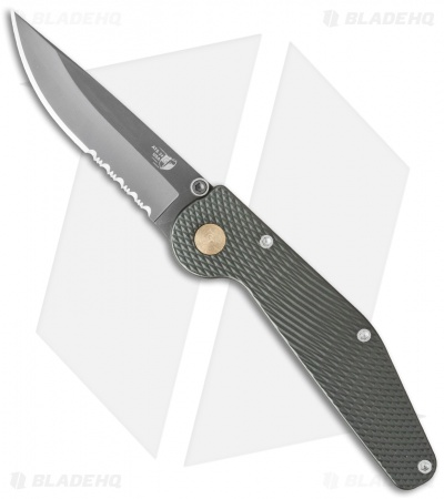 "GT Knives Police Automatic Knife Green (3.625"" Gray Serr) GT112"