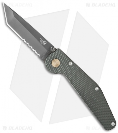 "GT Knives Police Tanto Automatic Knife Green (3.5"" Gray Serr) GT312"