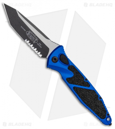 "Microtech Socom Elite T/E Automatic Knife Blue (4"" Two Tone Serr) 161A-2BL"