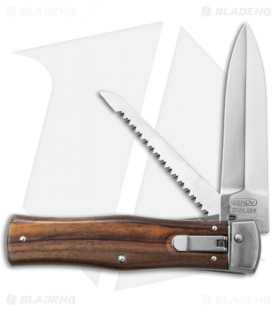 "Mikov 241 Predator Leverlock Automatic Knife w/ Saw Wood (3.75"" Polish)"