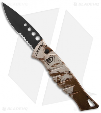 "Piranha Amazon Automatic Knife Desert Camo Tactical (3.45"" Black Serr)"