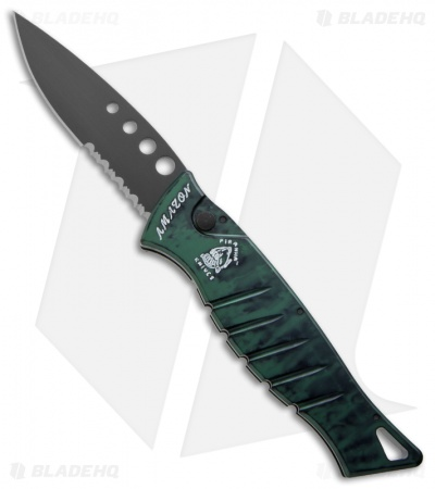 "Piranha Amazon Automatic Knife Green Tactical (3.45"" Black Serr)"