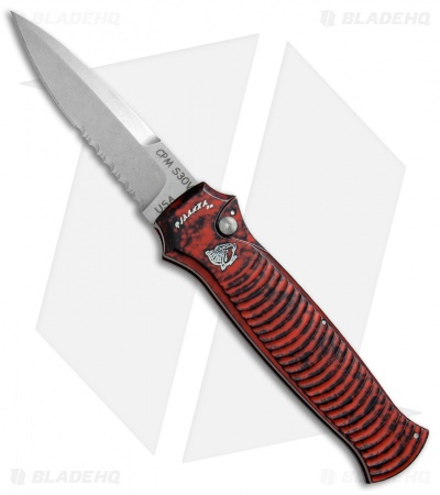 "Piranha Bodyguard Automatic Knife Red (3.3"" Stonewash Serr)"