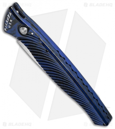 "Piranha DNA Automatic Knife Blue Marble (3.25"" Mirror)"