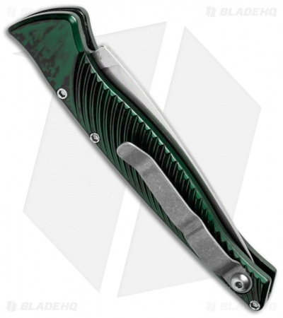 "Piranha DNA Automatic Knife Green Marble (3.25"" Mirror Serr)"
