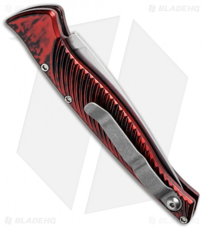 "Piranha DNA Automatic Knife Red Marble (3.25"" Mirror Serr)"