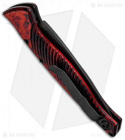 "Piranha DNA Automatic Knife Red Marble Tactical (3.25"" Black)"