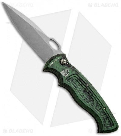 "Piranha Hybrid Green Automatic Knife (3.2"" Stonewash Plain)"