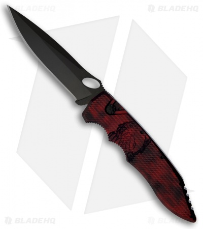 "Piranha Mini Predator Red Tactical Automatic Knife (3.5"" Black Plain)"