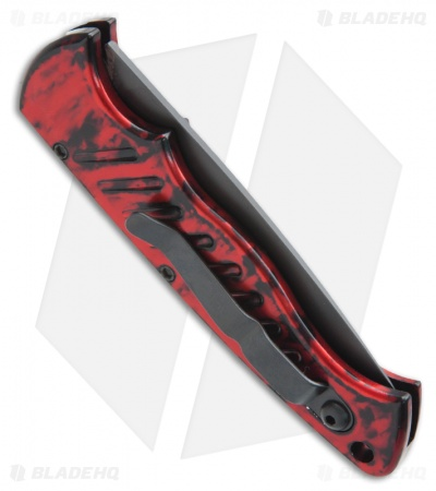 "Piranha Pocket Automatic Knife Red Tactical (3.2"" Black)"