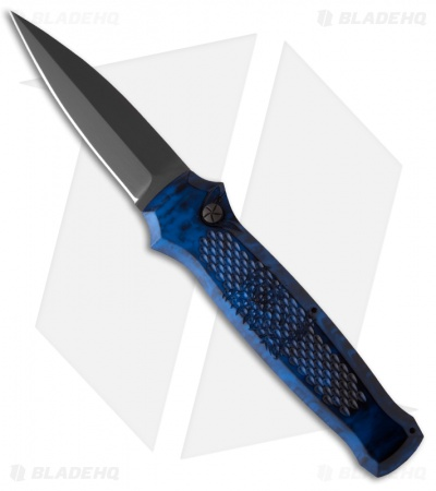 "Piranha Prowler Blue Tactical Automatic Knife (3.2"" Black Plain)"