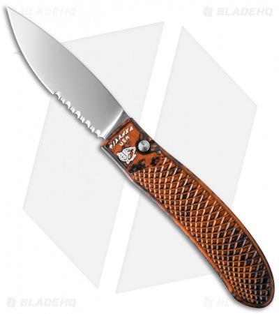 "Piranha Toxin Automatic Knife Orange (3.75"" Mirror Serr)"