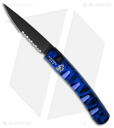 "Piranha Virus Automatic Knife Blue Marble Tactical (3.25"" Black Serr)"
