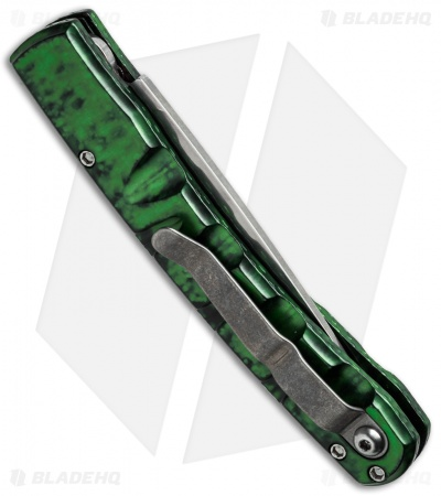 "Piranha Virus Automatic Knife Green Marble (3.25"" Mirror)"