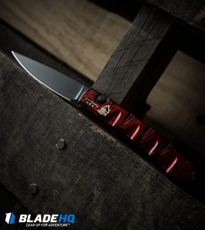 "Piranha Virus Automatic Knife Red Marble Tactical (3.25"" Black)"
