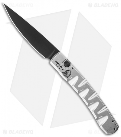 "Piranha Virus Automatic Knife Silver Tactical (3.25"" Black)"