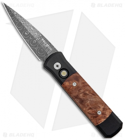 "Pro-Tech Custom Damascus Godson Automatic Knife w/ Maple Burl (3.15"" Damascus)"