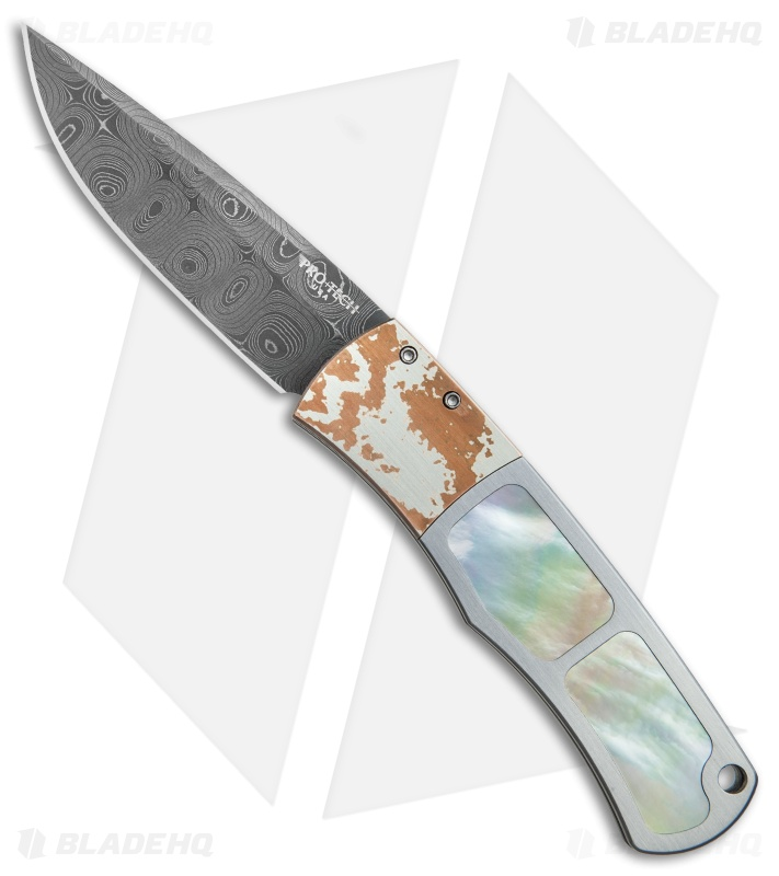 "Pro-Tech Magic ""Whiskers"" Steel Custom Automatic Knife MoP/Mokume (Damascus)"