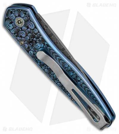 "Protech Ultimate Custom Newport Knife Blue Ti w/ Gold Lip Pearl (3"" Damascus)"