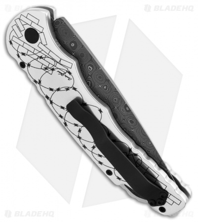 "Protech Skull #2 TR-4 Razor Wire Automatic Knife (4"" Damascus) Limited Edition"