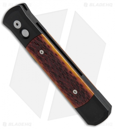 "Protech Godfather Automatic Knife Black w/ Amber Jig Bone (4"" Black Plain) 962"
