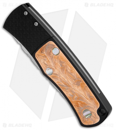 "Protech Magic BR-1 ""Whiskers"" Auto Knife Hand Engraved Copper/Abalone (3.1"" SW)"