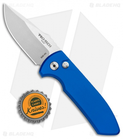 "Pro-Tech Les George SBR Automatic Knife Blue Aluminum (2.6"" Stonewash)"