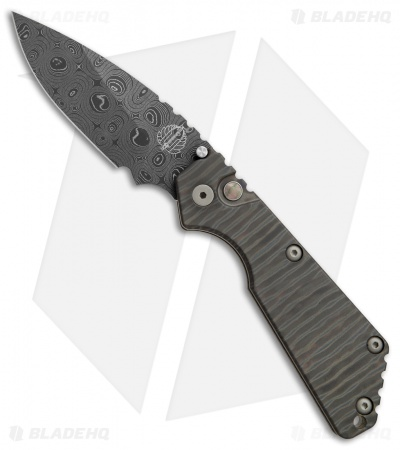 "Strider + Protech Custom SnG Automatic Knife Tiger Stripe Ti (3.5"" Damascus)"