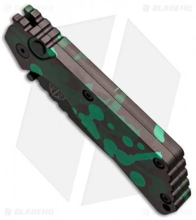 "Strider + Protech SnG Automatic Knife Green/Dark Brown Splash (3.5"" Black)"