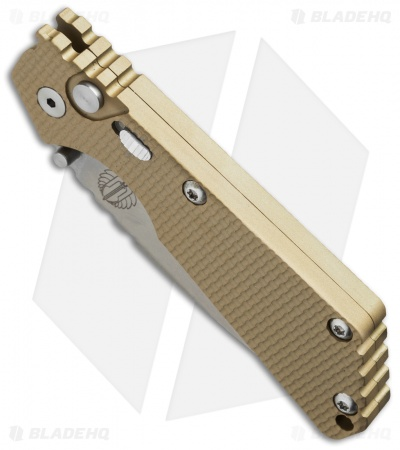 "Strider + Protech SnG Automatic Knife Tan Knurled w/Safety (3.5"" Stonewash)"