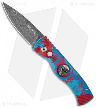 Protech Custom TR-2 Skull P.K. Splash Automatic Knife Red/Blue (Damascus)
