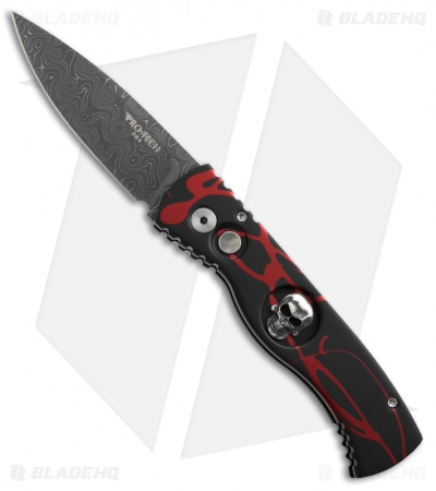"Protech TR-2 Skull P.K. Splash Black / Red Tactical Response Auto (3"" Damascus)"