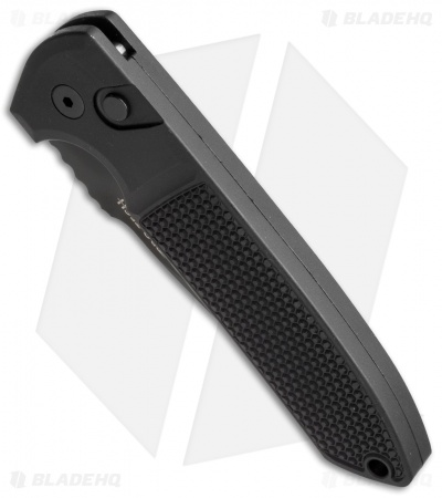 "Protech Les George Rockeye Automatic Knife Knurled (3.375"" Black) CPM-D2"