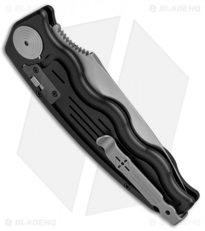 "SOG-TAC Automatic Knife Drop Point Black Aluminum (3.5"" Satin) ST-05"