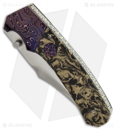 "Rainy & Cory Vallotton Freedom Fighter D/A Automatic Knife M3 Mokume (4"" Satin)"