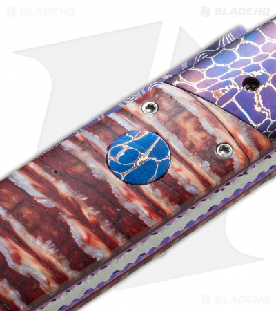 "Rainy Vallotton Custom Vendetta Automatic Knife Red Molar (4.25"" Damascus)"