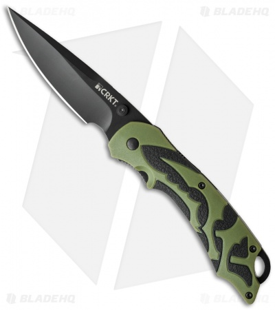 "CRKT Lerch Moxie Knife Green/Black Spring Assisted (3.29"" Black) 1101"