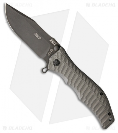 "HTM Darrel Ralph Large Gun Hammer Bowie Spring Assisted Knife Gray (3.8"" Black)"