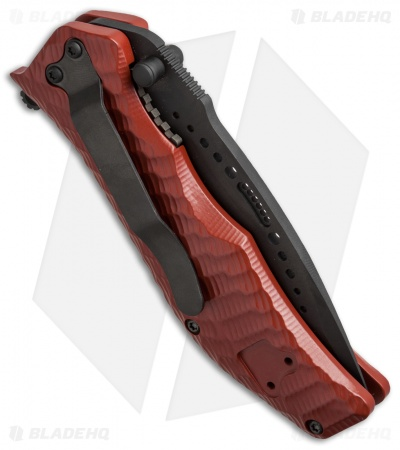 "HTM Darrel Ralph Gun Hammer Radian Spring Assisted Knife Red (3.5"" Black)"