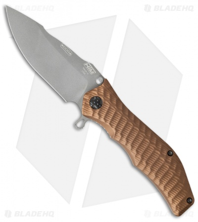 "HTM Darrel Ralph Gun Hammer Trident Spring Assisted Knife Copper (3.5"" Gray)"