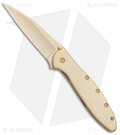"Kershaw Leek Assisted Opening Knife 24K Gold Plated (3"" Gold) 1660G"