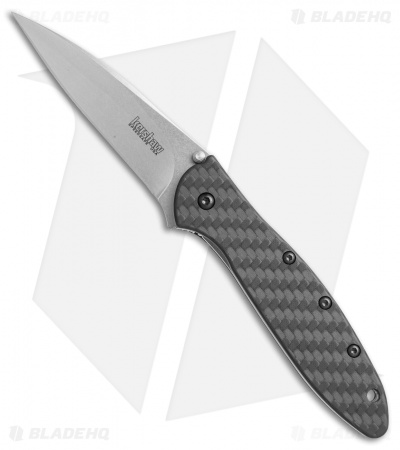 "Kershaw Leek Assisted Opening Knife Carbon Fiber (3"" Stonewash) 1660CF"
