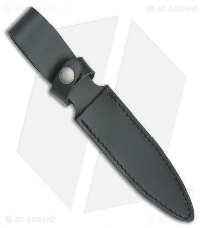 "Fox Knives Original Combat Dagger Fixed Blade Knife Black Leather (5"" Black)"
