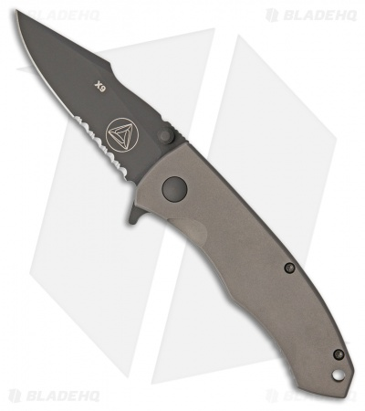 "Combative Edge X9 Frame Lock Knife Gray Titanium (3.25"" Black Serr)"